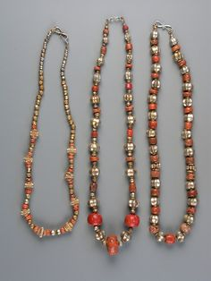 Sri Lanka | Gold, silver and coral necklaces | 18th and 19th Century