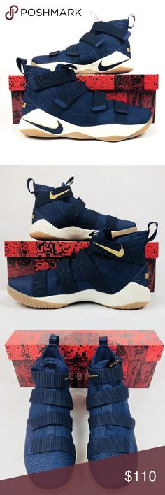 c1e493f98ce936 Nike LeBron Soldier XI Nike LeBron Soldier XI Midnight Navy Gold Men s  Basketball Shoes New With Box Shipped Double Boxed Nike Shoes Sneakers.  Bashy Fashion