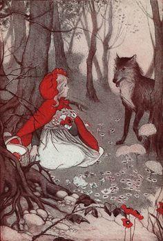 Vintage 1930's Little Red Riding Hood Illustration
