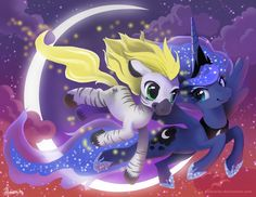 MLP FIM: Luna and Jack soaring - Revisited by hinoraito.deviantart.com
