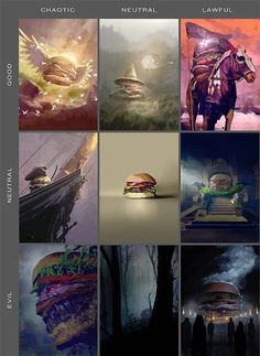 Burger 'Dungeons & Dragons' Alignment Chart And Character Cards