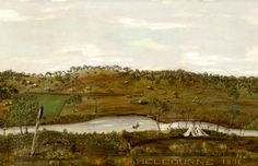 Melbourne 1826, an early view of Melbourne from south of the Yarra by R. Hofmann (detail)