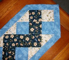 Quilted Table Runner - Blue Zig-Zag - Reversible