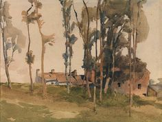 Archibald Knox (1864 — 1933, Scotland)  Kewaigue, Braddan. watercolour on paper.