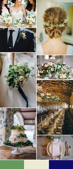 Green, Ivory, and Navy Wedding Color Palette Inspiration