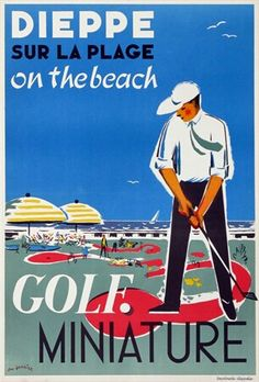 Dieppe Golf Miniature on the Beach #tourism #poster by Gambier (1950)