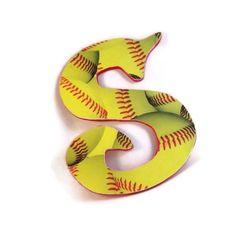 softball+decor | Softball Decor Custom Name Letters by HookUUpCustomCrafts on Etsy