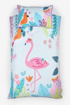 Bright Flamingo Reversible Duvet Cover and Pillowcase Set Childrens Bed Linen, Pastel Nursery, Double Duvet Covers, Lit Simple, Teal And Pink, Metal Furniture, Next Uk, Linen Bedding, Flamingo