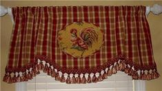 French Country Kitchen Curtains on Scalloped Valance Curtain French Country Rooster Toile Red Gold Plaid