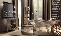 Aviator chairs and ottoman from Restoration Hardware - that's just a whole bunch of awesomeness.