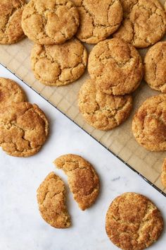 Simple and delicious, these vegan snickerdoodles, rolled in cinnamon-sugar, can be made traditional with cream of tarter, or without. Perfectly soft, chewy center with a slight crisp edge. Easy recipe! Vegan Baking Recipes, Allergy Free Recipes, Vegan Sweets, Healthy Dessert Recipes, Vegan Snacks, Vegan Desserts, Healthy Gourmet, Scone Recipes, Vegan Foods