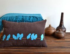 Felt Bird Applique Pillow Cover - Turquoise Birds In Nature Applique On Brown Cushion - Decorative Bird Pillow - Applique Pillow on Etsy, Sold