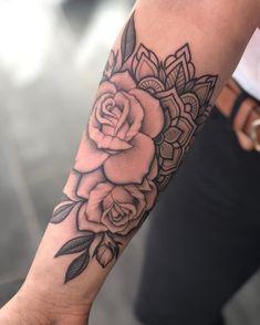 Mandala Flower Tattoos, Forearm Flower Tattoo, Inner Forearm Tattoo, Forearm Sleeve Tattoos, Small Wrist Tattoos, Tattoo Sleeve Designs, Mandala Tattoo Sleeve Women, Forarm Tattoos For Women, Tattoo Women