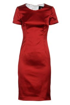 D Rosso Seduzione Satin Stretch Pencil Dress