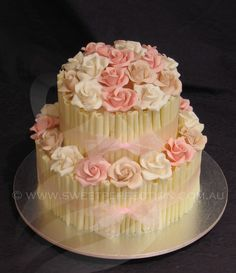 White Chocolate Cigarello Cake, with edible sugar roses. 2011.