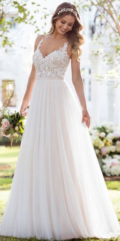 Soft, romantic, and light-as-air, this boho wedding dress from Stella York was made for the laidback, casually-cool bride. The bodice of this French tulle over matte-side Lavish satin gown is const… Fall Wedding Dresses, Tulle Wedding, Boho Wedding Dress, Bridal Dresses, Gown Wedding, Wedding Ceremony, Mermaid Wedding, Bridesmaid Dresses, Dresses For Weddings