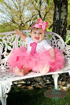 Hot Pink Princess Tutu Set- inlcudes onsie, tutu and bow-Perfect for 1st 2nd 3rd 4th 5th Birthday