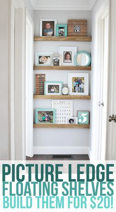 How to build narrow floating shelves with a picture ledge. Decorate the end of your hallway in just a few hours for about $20.
