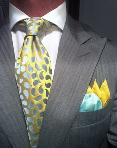 Grey shark skin suit maybe? but the tie and hankie sets it off