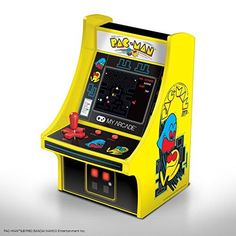 Features artwork inspired by the original Pac-Man arcade cabinet Full-color, screen Removable joystick Ideal for any game room, office or display case Volume control & headphone output Mini Arcade Machine, Arcade Game Machines, Donkey Kong Arcade Machine, Arcade Table, Bartop Arcade, Space Invaders, Mug Star Wars, Pac Man Videos, Consoles