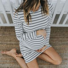 A pretty striped maternity dress.