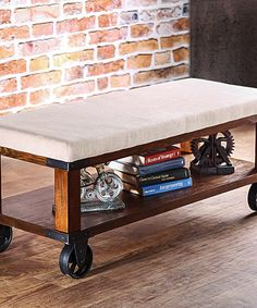 Look at this Light Oak Daven Industrial Bench on #zulily today!