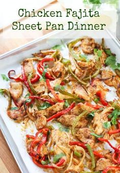This 30 minute Easy Sheet Pan Fajita meal will quickly become a favorite!  Healthy. Fast and Fresh, just the way we like our meals around here! #chickenbreasts #easychickendinner #whole30 #paleo via @laughingspatula