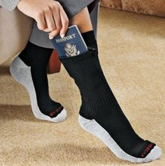 Concealed Pocket Socks www. Concealed Pocket Socks www.thisiswhyimbr… Concealed Pocket Socks www. Dump A Day, Things To Buy, Stuff To Buy, Travel Gadgets, Travel Accessories, Passport, Inventions, Just In Case, Travel Tips