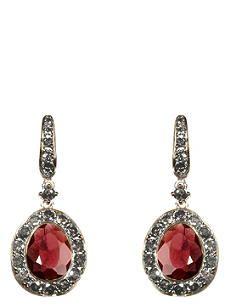 ANNOUSHKA Dusty Diamonds 18ct white-gold, pavé diamond and rhodolite garnet drop earrings