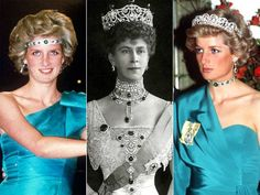 Princess Diana (left and right) and Queen Mary wearing the choker