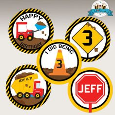 EDITABLE Dump Truck Construction Birthday by LilFacesPrintables, $4.95