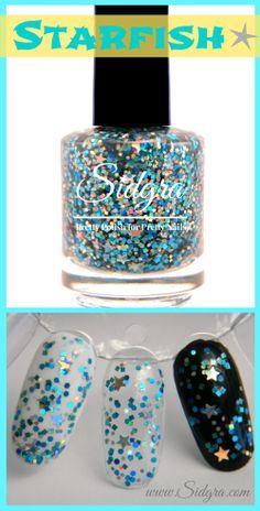 Glitter Nail Polish by Sidgra | Starfish | Custom Blended - Full Size Bottle. 5-Free, Vegan, & Cruelty Free $9.99 Sidgra.com #sidgra #glitternailpolish