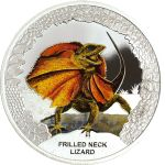 Tuvalu 2013 1$ Frilled Neck Lizard Remarkable Reptile Series Proof Silver Coin