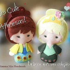 Mais duas fofuras da coleção SoCute Princesas! Espero que gostem!! <3 Anna e Elsa! #socute #mammamiahandmade #feltros #feitocomamor #handmadewithlove #handmade #frozen #photooftheday @santafefeltros @jorge.santafe