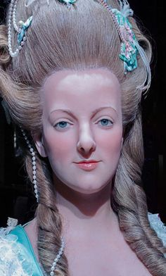 An extraordinary wax sculpture of Marie Antoinette found at the Musée Grévin.