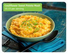 Low calorie substitute to mashed potatoes: Cauliflower & Sweet Potato Mash #recipe #Thanksgiving