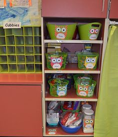 Owl themed storage bins for classroom supplies.  Check out our owl-themed classroom at www.astutehoot.com