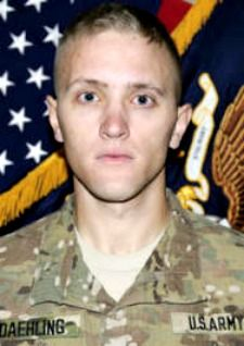 Army SPC. Mitchell K. Daehling, 24, of Dalton, Massachusetts. Died May 14, 2013, serving during Operation Enduring Freedom. Assigned to 3rd Battalion, 41st Infantry Regiment, 1st Brigade Combat Team, 1st Armored Division, Fort Bliss, Texas. Died in Senjaray, Kandahar Province, Afghanistan, of wounds suffered when enemy forces attacked his convoy unit with an improvised explosive device.
