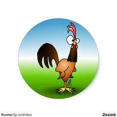 Rooster Classic Round Sticker. #Zazzle #Cardvibes #Tekenaartje #SOLD