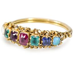 """Victorian Acrostic DEAREST Ring - The first letters of the names of the stones spell out """"DEAREST"""" ~ Diamond Emerald Amethyst Ruby Emerald Sapphire Turquoise. The Victorians loved hidden messages, codes, and word play."""