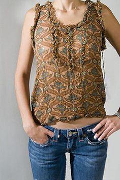 James Coviello Lotus Print S/L Womens Shirt Brwn 2