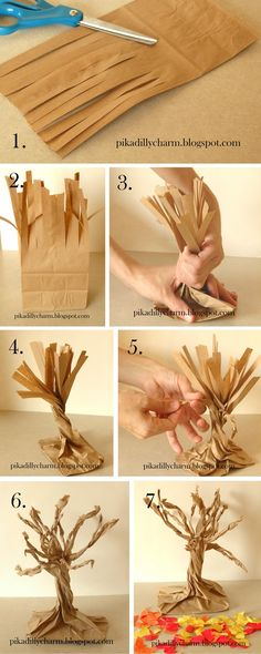 We did this today, but we used patterned scrapbook paper for the leaves, and wavy edged scissors.  Very cool!  Fall Paper Bag tree craft. Tissue paper or construction paper can be used for the leaves. More info at Pikadilly Charm: Paper Craft