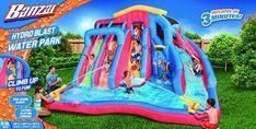 BANZAI Hydro Blast Water Park – Zazoo Kids Banzai Water Slide, Inflatable Water Park, Keep Swimming, Basketball Hoop, Water Slides, Things That Bounce, Random, Kids, House Interiors