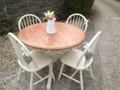SOLD for £92 .00 solid pine round dining table 4 chairs, painted shabby chic farrow and ball. | eBay #shabbychickitchendiy