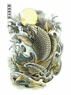 Face for the female Koi on forearm, and the water is good Japanese Koi Fish Tattoo, Koi Fish Drawing, Japanese Tattoo Designs, Fish Drawings, Koi Dragon Tattoo, Dragon Fish, Koi Fish Tattoo Forearm, Widder Tattoo, Koi Tattoo Design