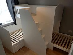 Triple bunk beds full size singles with drawer stairs