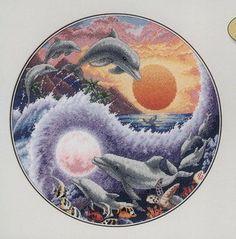 Solo Patrones Punto Cruz 9/9 Ying Yang Dolphins