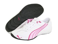 white pumas with pink stripe