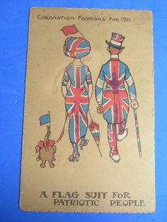 REG CARTER ? Comic Postcard 1911 CORONATION FASHIONS Bulldog Theme A FLAG SUIT
