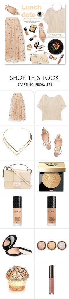 """""""Lunch date"""" by buttercup-b ❤ liked on Polyvore featuring Valentino, WALL, MANGO, Natalie B, Jimmy Choo, Bobbi Brown Cosmetics, Gucci, Isadora, By Terry and House of Sillage"""